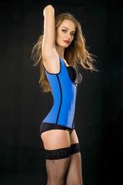 Sexy Latex Women Rubber Corset Blue