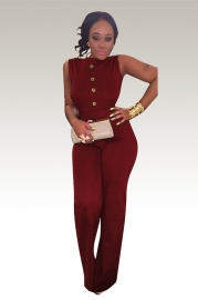 Women Open Back Sleeveless Button Jumpsuit Wine Red