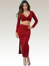New Arrival Sexy Women 2pcs High Split Bodycon Dress Red