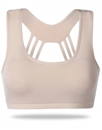 Sexy Wireless Crossover Yoga Bra Apricot