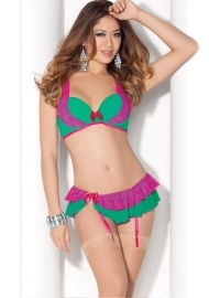 Sexy Two Pieces Women Lingerie Babydoll Green&Rosy