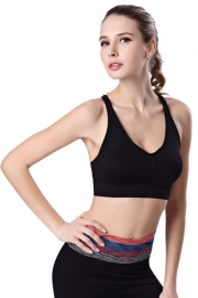 Plus size Low cut design wireless Sport Bra Black