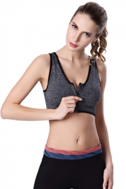 Sexy Women Sport Bra With Zip Grey