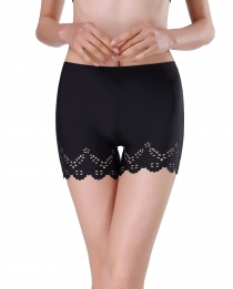 New Style Women Front Edge Hollow Out Boyshorts Black