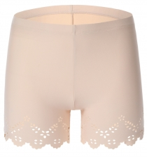 New Style Women Front Edge Hollow Out Boyshorts Apricot