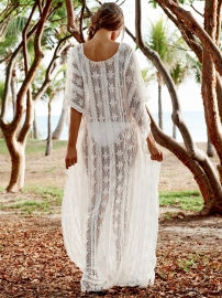 New Arrival White Loose Lace Beach Long Dress