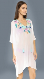 Wholesale Women Embroidery Beachwear White