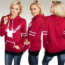 Wholesale Stylish Women Sport Print Hoody Red