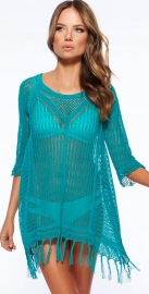 Latest Long Sleeve Swimwear Beachwear Cover Up Blue