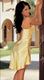 Newest Low Cut Backless Women Lingerie Chiffon Shoulder Strapes Babydoll Yellow