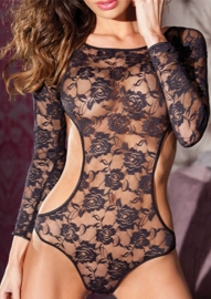 New Arrival Black Lace Sleeves Teddy Lingerie