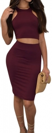 Hot  Bodycon with Crop Top Wrapped Dress Bottom 2016