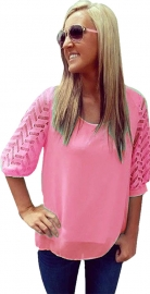 Women Hollow-out Double Chiffon Shirt with Medium Sleeve Watermelon Red