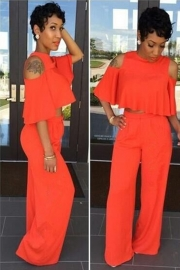 Solid Color Loose 2pcs Jumpsuit with Hollow-Out 0range