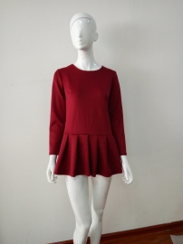 Wine Red Wrinkle Dress