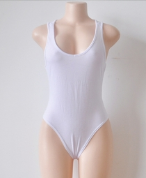 New High Quality Mixed Cotton D-V Neck Sleeveless One Piece Swimwear White