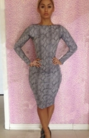 Gray Sexy Ladies Long Sleeve Open Print Back Bodycon Dress