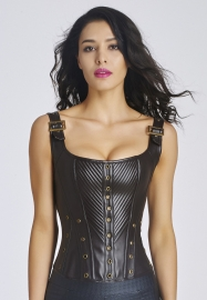 Ladies Leather Corset Brown