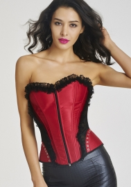 High Quality Newest Waist Training Back-Strappy Lace Corset Women Red