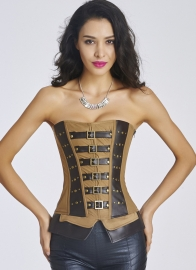 Newest Cheap Waist Training Tieback Corset Brown