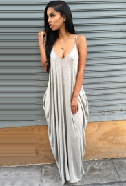 New Arrival Low Neck Strappy Lady Leisure Sleeveless Long Dress Light Grey