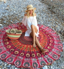 New Arrival Floral Circular Beach Mat Red