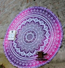 New Arrival Floral Circular Beach Mat Rosy Pink