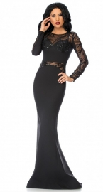 2016 New Arrival Sexy Long Sleeve Lace Black Maxi Dress