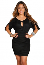 Sexy  Middle-length-sleeve Women Bodycon Dress Black