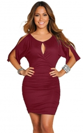 Sexy  Middle-length-sleeve Women Bodycon Dress Red
