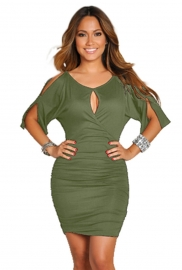 Sexy  Middle-length-sleeve Women Bodycon Dress Amry Green