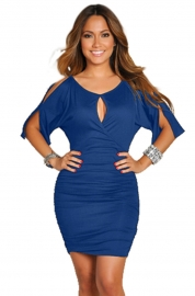 Sexy  Middle-length-sleeve Women Bodycon Dress Dark Blue