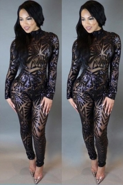 Newest Sequinded Halterneck Hollow Out Long Sleeve Jumpsuit