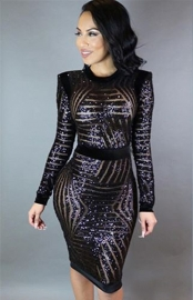 Bodycon Dress Sequined Long Sleeve O-Neck Midi Dress