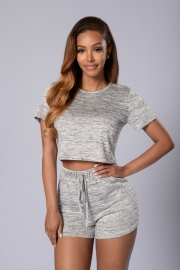 Newest Cheap Women Short Sleeved With Two Pieces Women Suit Gray
