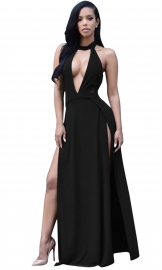2016 Hot Sell Hollow Out Deep V-Neck Maxi Dress Black