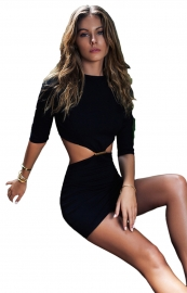 Fashion Backless Sexy Bodycon Dress Black