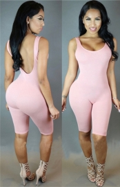 Hot Sell Sexy Backless Jumpsuit Pink