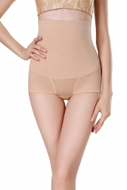 Striped Women Sexy Shapewear  Apricot