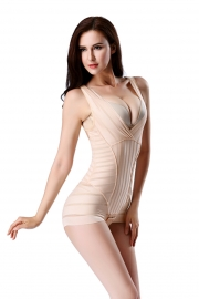 2016 Hot Sell One-piece Deep V-Neck Striped Shapewear  Apricot