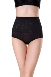 Newest Sexy Floral Print High Wasit Shapewear Black