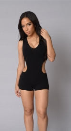 New Hot Sexy Hoody Women Jumpsuit Black