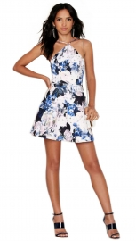 Women's Sleeveless Bodycon Floral Print Halterneck and Hollow Out Dress