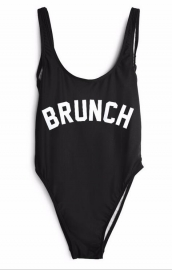 Fashion One Piece Letter Printed Bikini BRUNCH
