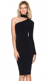 Stylish Off Shoulder Long Sleeve Solid Color Bodycon Dress Black
