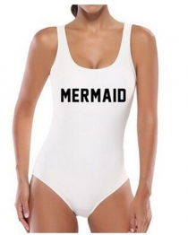 Fashion One Piece Letter Printed Bikini MERMAID