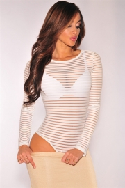 Wholesale Transparent Stripe Long Sleeve Hollow Out Jumpsuit White