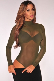 Stylish Women Transparent Long Sleeve Ladies Suits Army Green