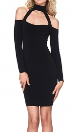Fashion Halterneck Sexy Bodycon Dress Black