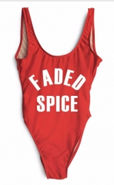 Fashion One Piece Letter Printed Bikini FADED SPICE